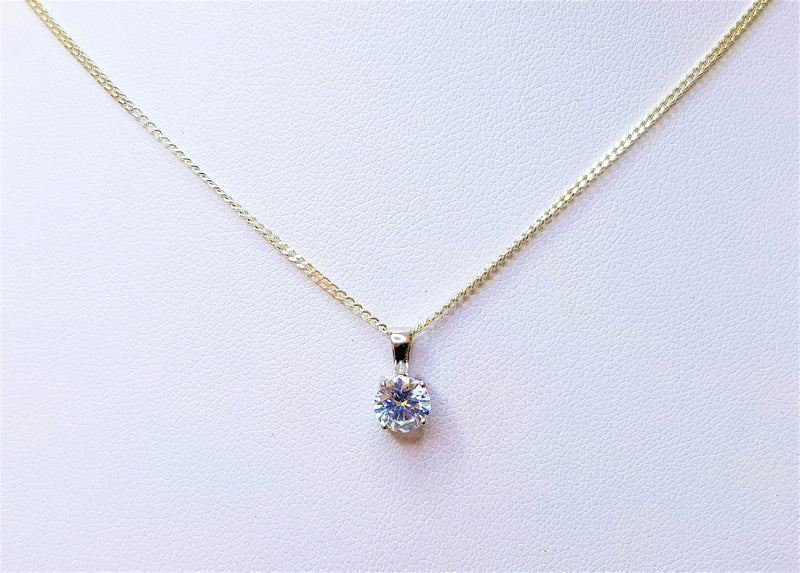 9ct White Gold Round CZ Pendant