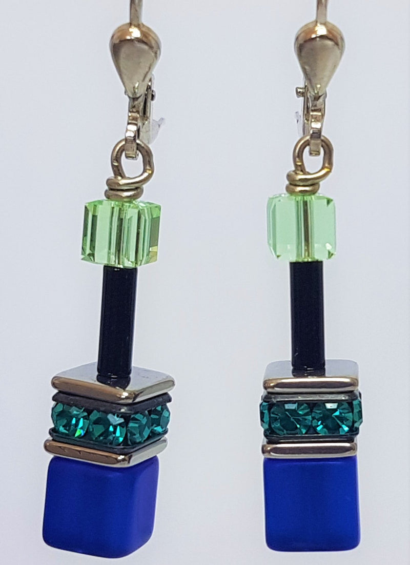 Blue And Green GeoCube Rhine Stone Drop Earrings