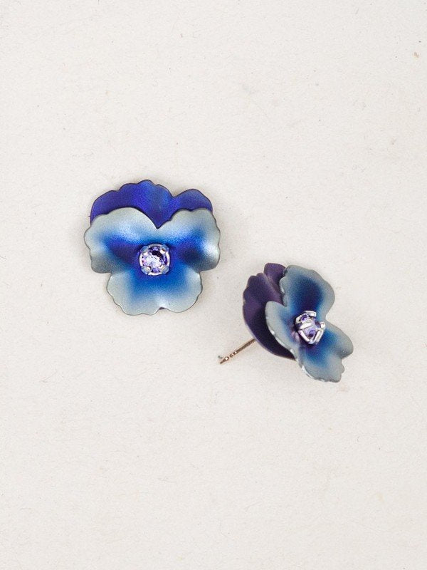 Pansy Blue Silver  Stud Earrings