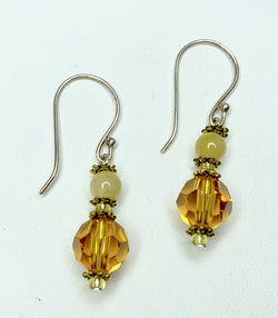 Yellow Jade & Faceted Rondelle Swarovski Crystal Shepherd Hooks