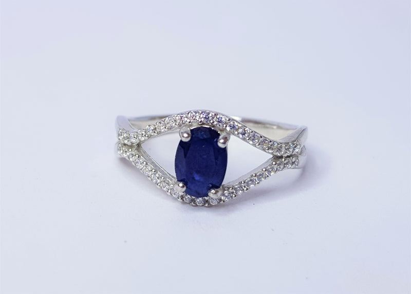 Oval Sapphire and CZ Twist Sterling Silver Ring