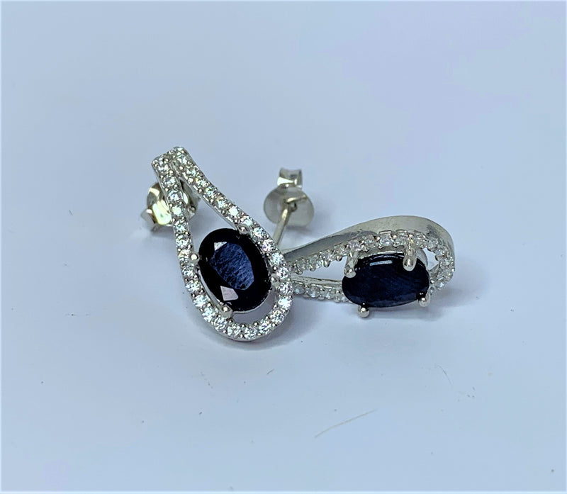 Sapphire and CZ Drop Sterling Silver Studs