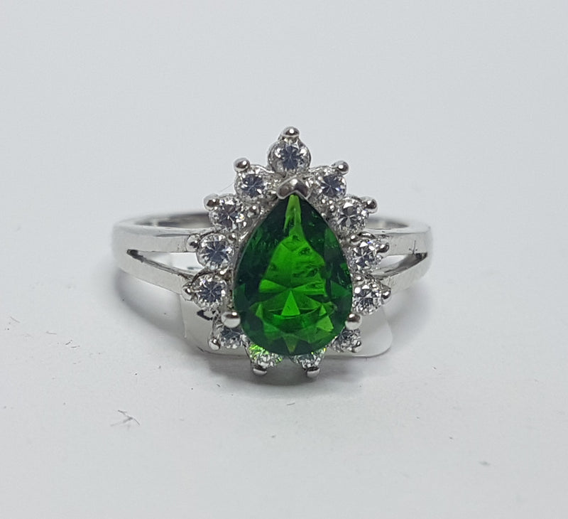 Emerald Pear Cubic Zir Sterling Silver Ring