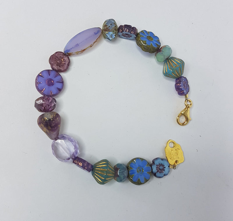 Morning Glory Lavender Gold Bracelet