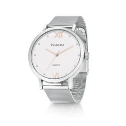 Merida by Isadora Silver Case with Crystal with Stainless Steel Mesh Bracelet Watch