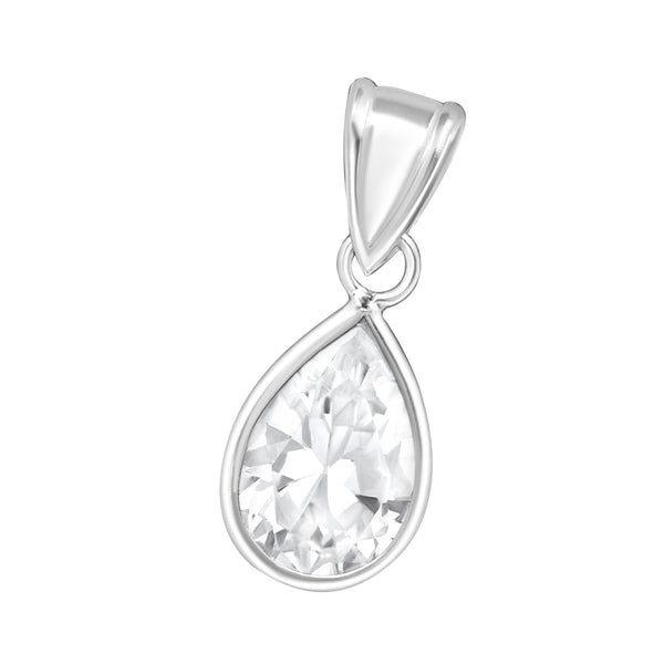 Crystal Pear Cubic Zirconia Sterling Silver Pendant