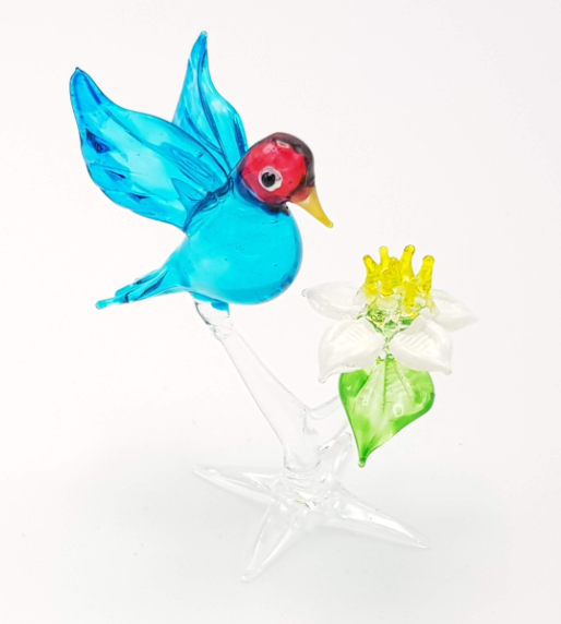 Blue and Red Glass Humming Bird with White and Yellow Flower