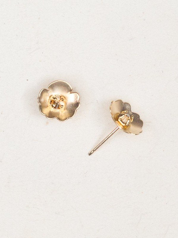 Viola Gold Crystal Sterling Silver Studs