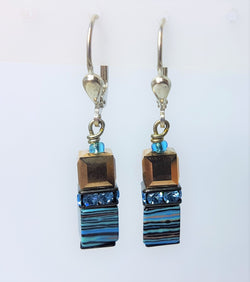 Pastel Blue, Silver, Brown Pastel Swarovski Handmade Geocubes  Earrings