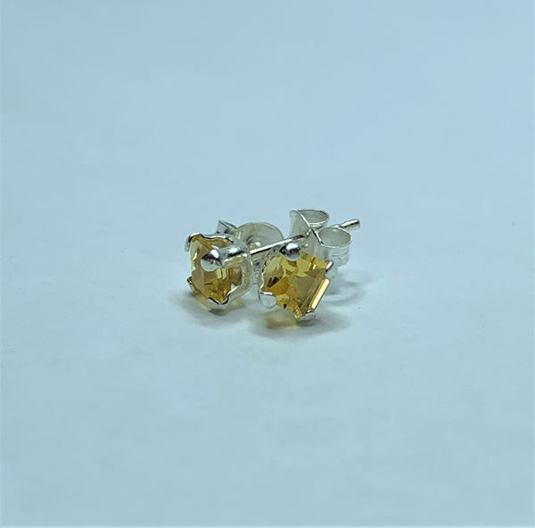 Citrine Square Sterling Silver Studs