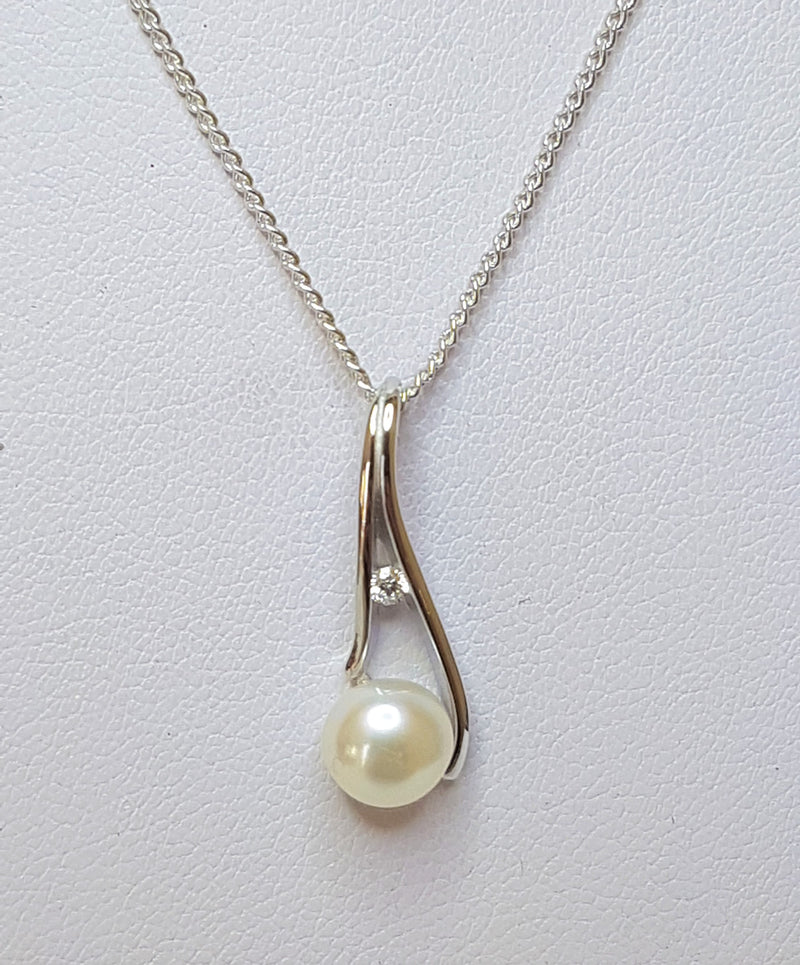 Fresh Water Pearl and CZ Swirl Sterling Silver Pendant