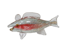 Hand Blown Orange and Beige Speckled Glass Trout