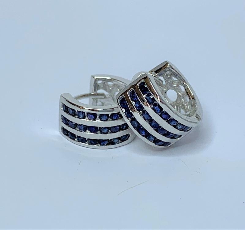 3x Sapphire Rows Sterling Silver Hoops