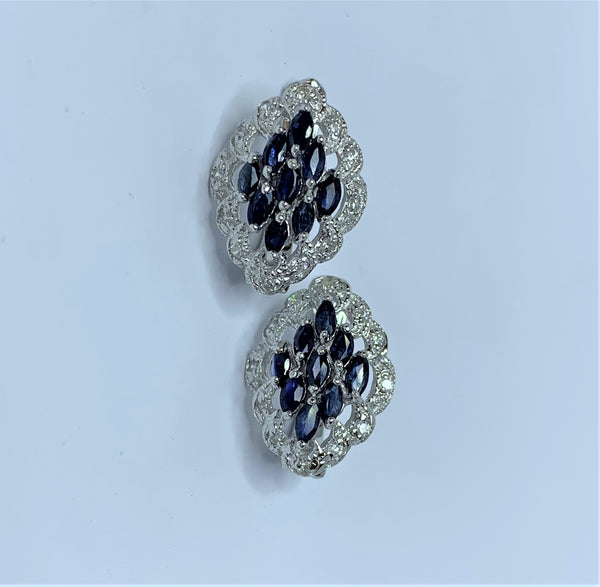 Marquee Sapphires and CZ Sterling Silver Clip Studs