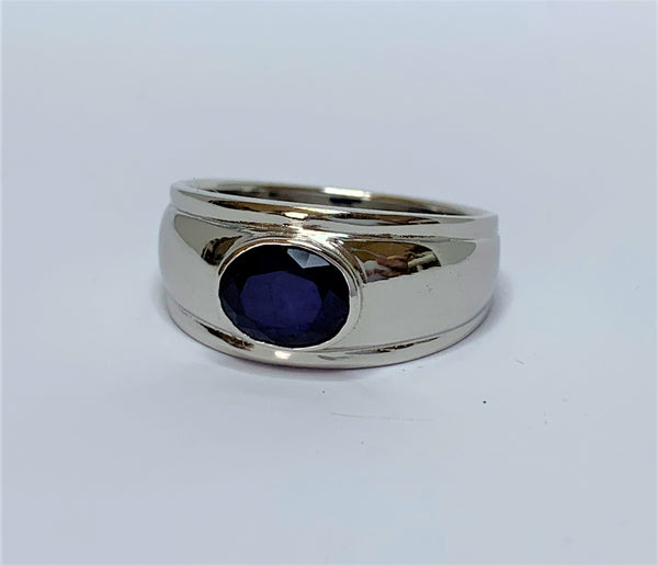 Oval Sapphire Bezel Slave Sterling Silver Ring