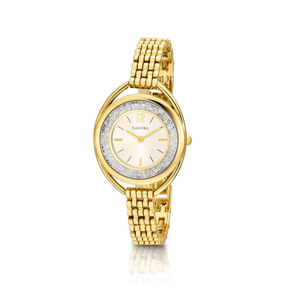 Marbella by Isadora Goldtone Crystal Filled Dial with Goldtone Bracelet Watch