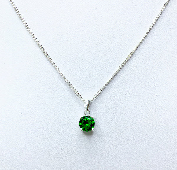 Round CZ Emerald Sterling Silver Pendant