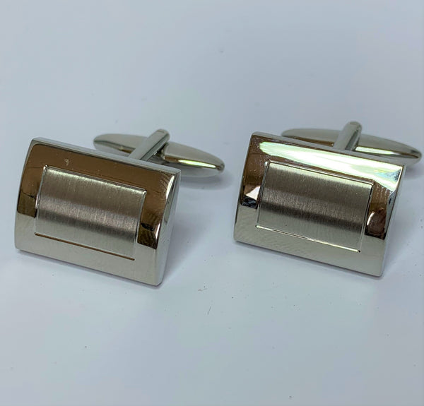 Brushed Rectangle Stainless Steel Cuff Links