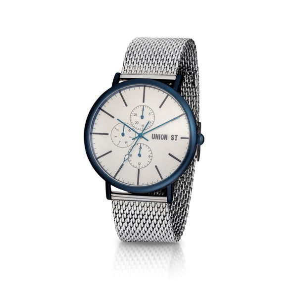 Union St Ethan Silver Dial with Steel Mesh Watch