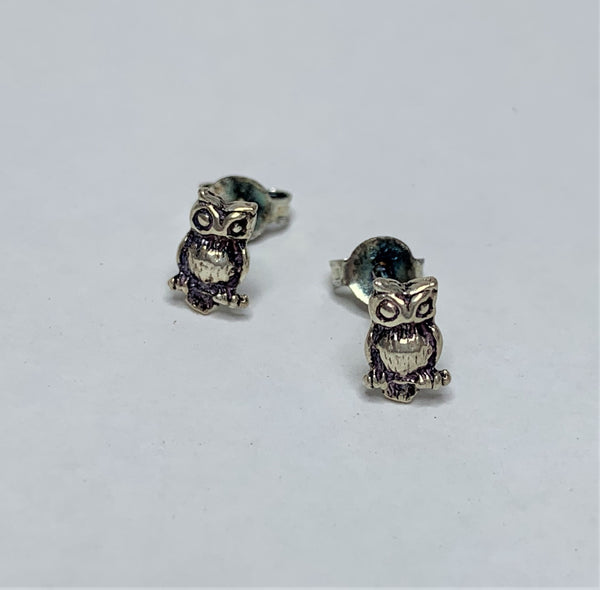 Small Owl Sterling Silver Studs