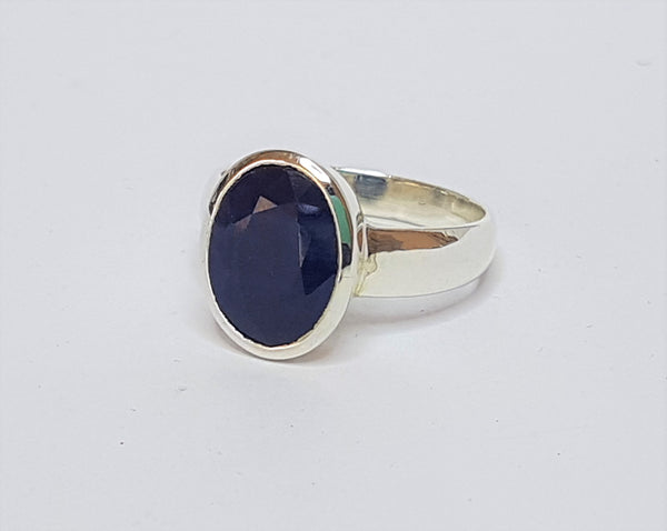 Oval Sapphire Sterling Silver Ring