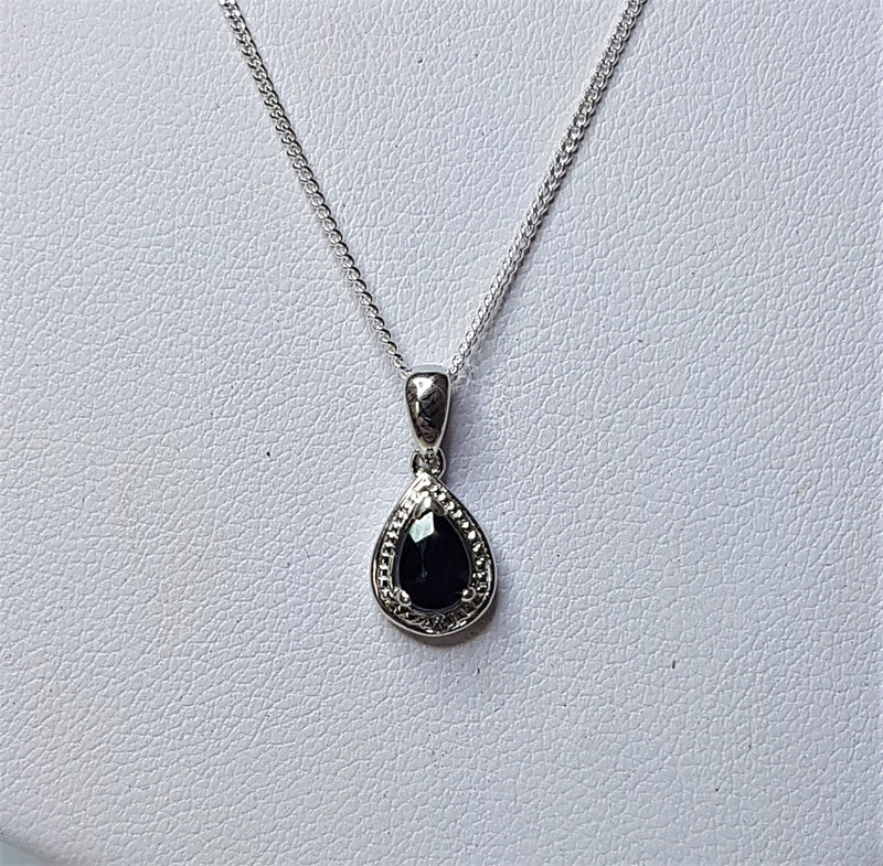 Teardrop Sapphire and CZ Sterling Silver Pendant