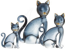 Small Blue and Gold Glass Sitting Cat