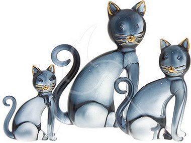 Large Blue and Gold Glass Sitting Cat