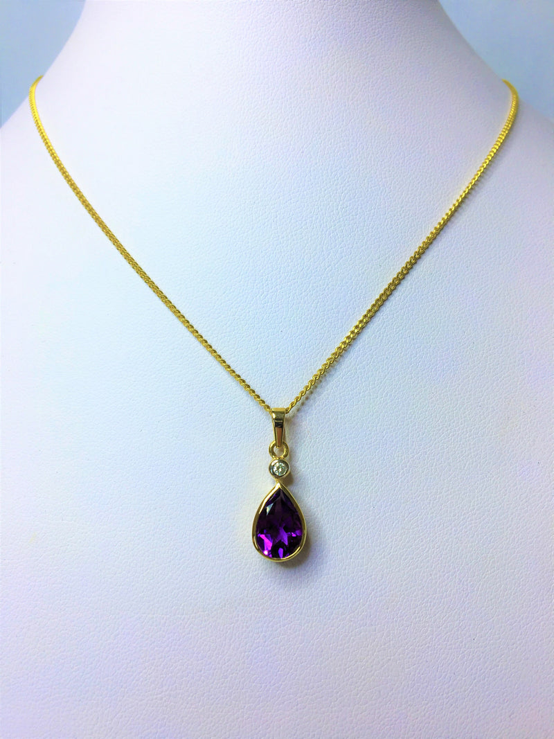 9ct Yellow Gold Pear Amethyst and Diamond Pendant