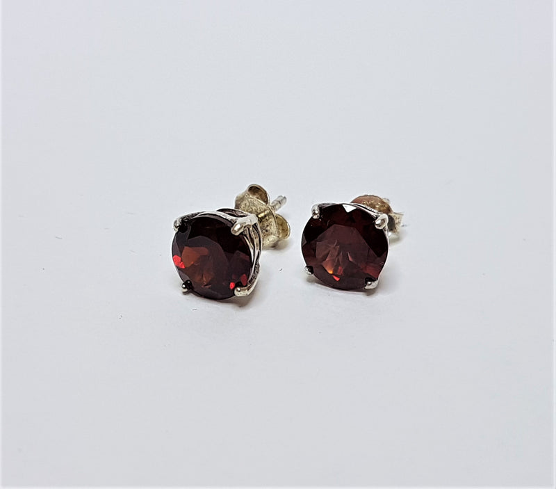 Brilliant Cut 7mm Garnet Sterling Silver Studs