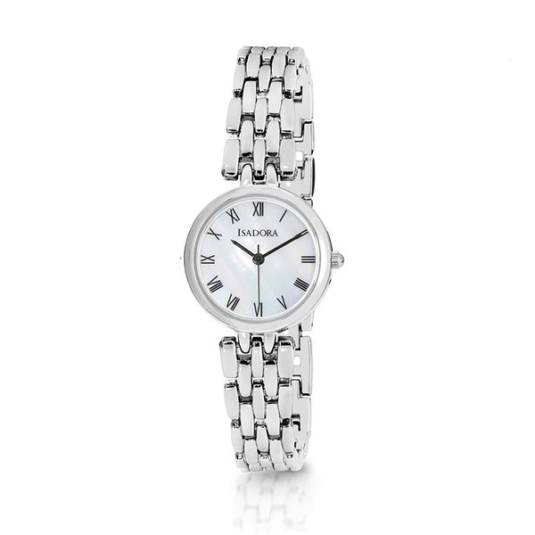 Alora by Isadora Mother Of Pearl Dial with Full Roman Figures and Silvertone Bracelet Watch