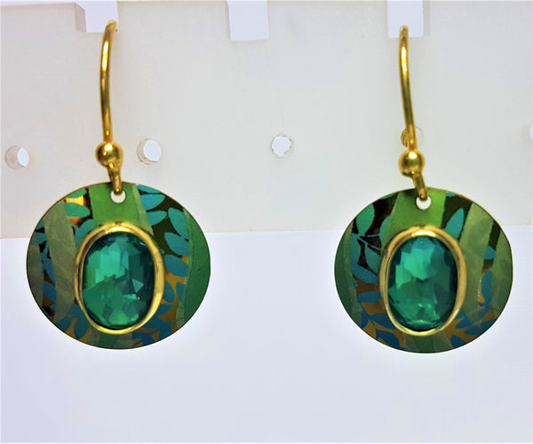 Verdant Green Gold Plate Earrings
