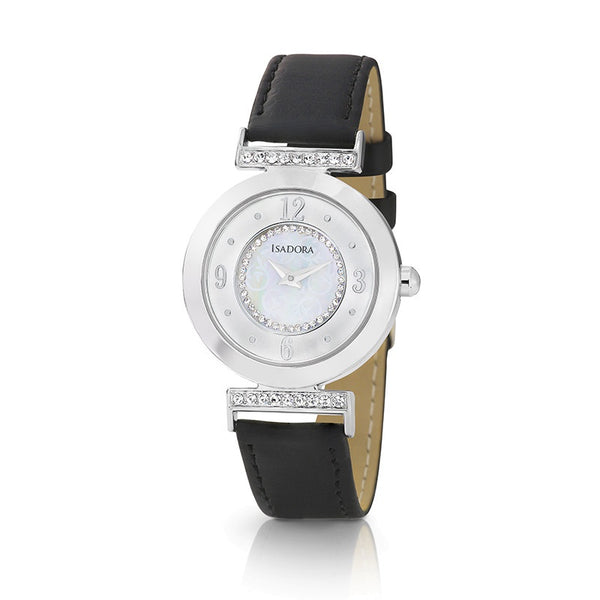 Altea by Isadora Silver Tone Case Crystal Set with Black Leather Strap Watch