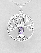 Amethyst 'Tree Of Life' Sterling Silver Pendant