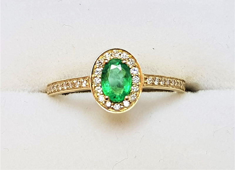 9ct Yellow Gold Emerald and Diamond Halo Ring
