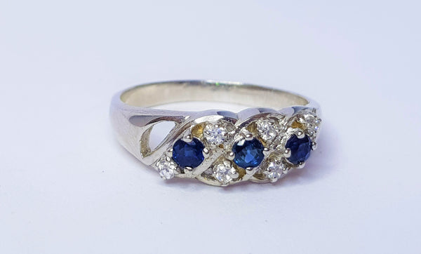 3 Sapphire and CZ Sterling Silver Ring