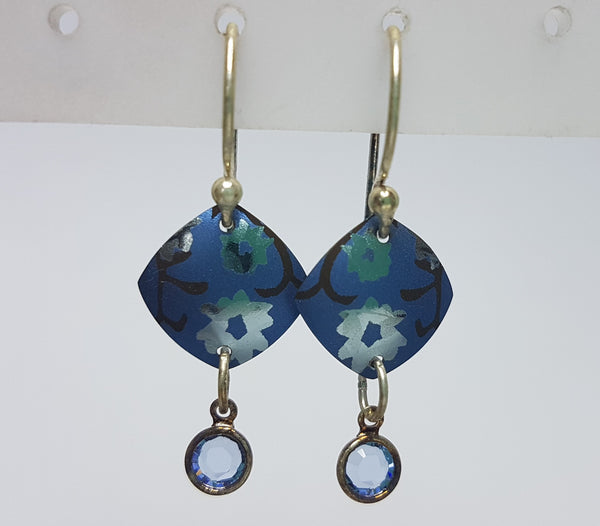 Aurora Silver Blue Crystal Drop Earrings