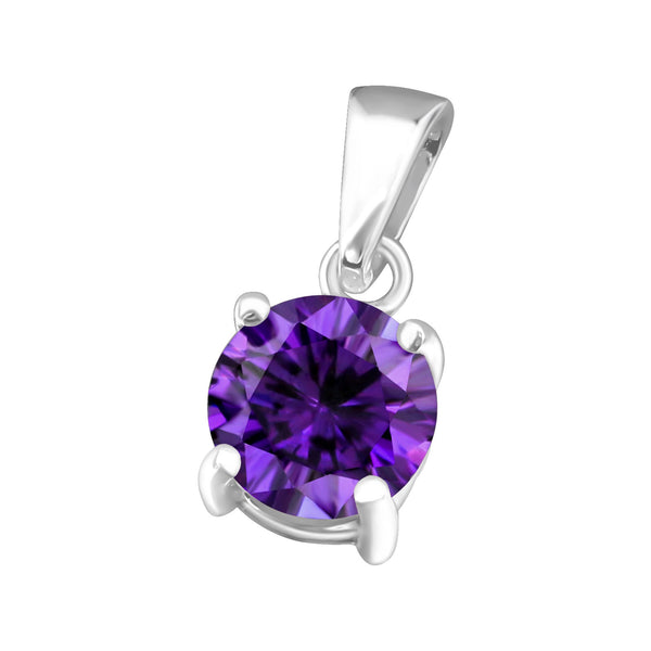 February, Amethyst Colour Cubic Zirconia Claw Set Sterling Silver Pendant