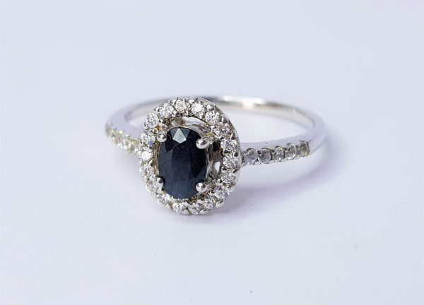 Sapphire and CZ Halo Sterling Silver Ring