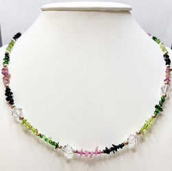 Multi-Coloured Tourmaline & Crystal Necklace