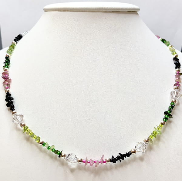 Multi-Coloured Tourmaline & Swarovski Crystal Necklace