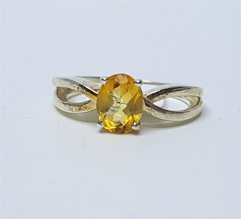 Oval Citrine Swirl Sterling Silver Ring