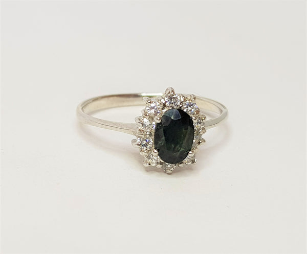 Oval Sapphire and CZ Cluster Sterling Silver Ring
