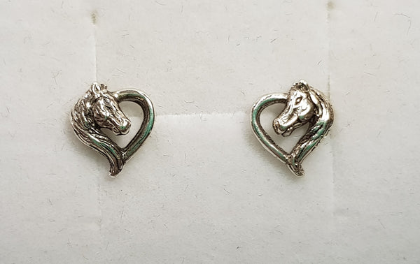 Horse Head Heart Sterling Silver Earrings
