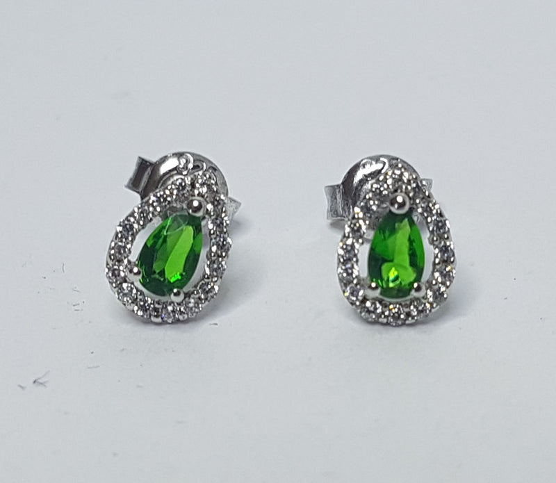 Green Pear Cubic Zirconia Sterling Silver Studs