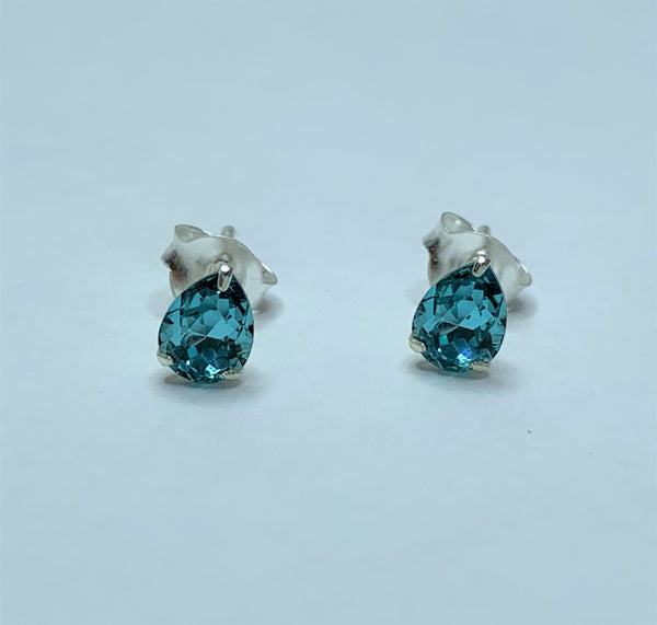 Turquoise Swarovski Pear Sterling Silver Studs