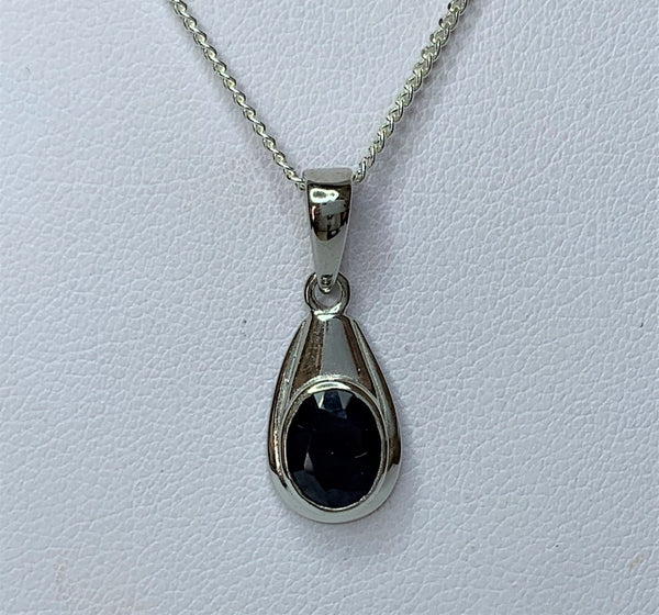 Oval Sapphire Drop Sterling Silver Pendant