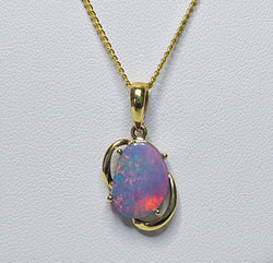 9ct Yellow Gold Freeform Boulder Doublet Opal Pendant