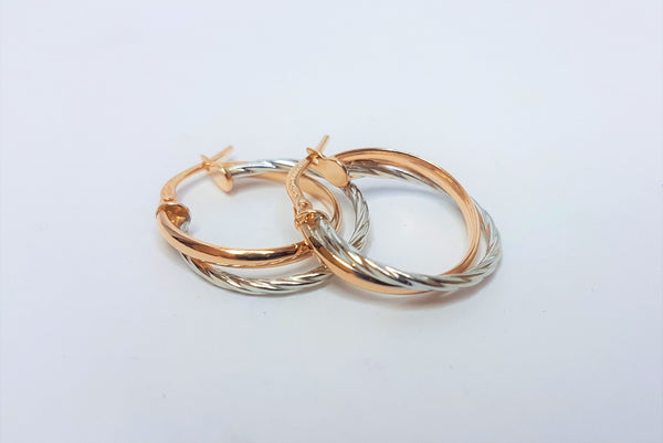2 Toned 9ct Rose Rose and 9ct White Twisted Silver Filled Hoops