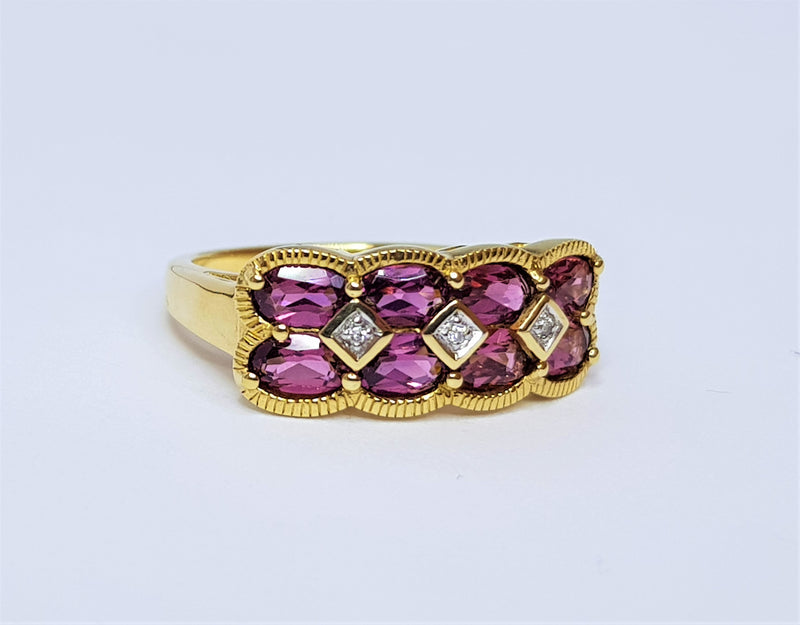 9ct Yellow Gold Rhodolite Garnet and Diamond Ring